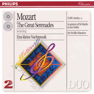 ACADEMY OF ST. MARTIN IN THE FIELDS, SIR NEVILLE MARRINER – MOZART: THE GREAT SERENADES (2xCD)
