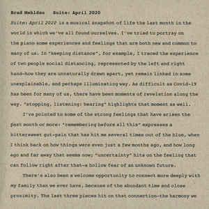MEHLDAU, BRAD – SUITE: APRIL 2020 (CD)