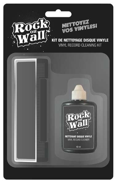 Текстилна четка комплект с течност за почистване на плочи Rock on wall