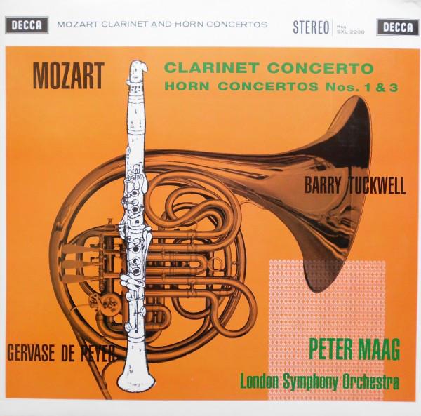 Wolfgang Amadeus Mozart – Gervase de Peyer, Barry Tuckwell, Peter Maag, The London Symphony Orchestra – Clarinet Concerto / Horn Concertos Nos. 1 & 3 (LP, Album, RE, 180) (Mint (M))