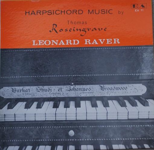 Thomas Roseingrave – Leonard Raver – Harpsichord Music (LP) (Very Good Plus (VG+))